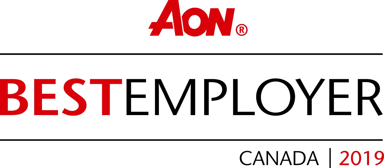 Aon Best Employer Canada 2019 Stamp Red