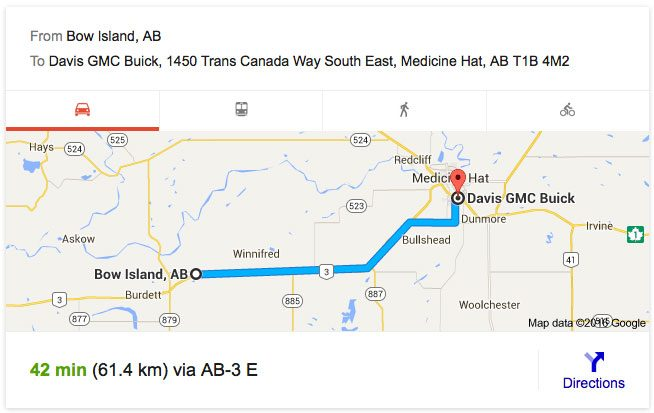 Full Synthetic Oil Change Price >> Directions from Bow Island AB | Davis GM Medicine Hat