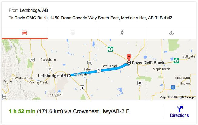 Directions from Lethbridge to Davis GMC Buick Medicine Hat