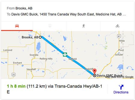 Directions from Brooks AB  to Davis GMC Buick Medicine Hat