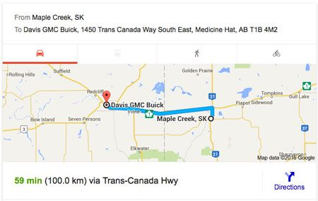 Directions from Maple Creek to Davis GMC Buick Medicine Hat
